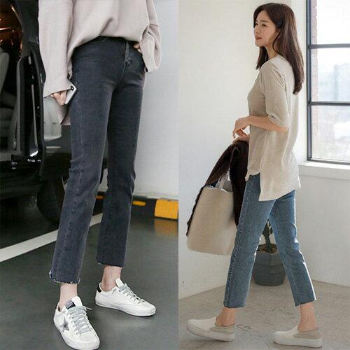 丹寧褲窄管牛仔長褲顯瘦合身不修邊褲管八分褲牛仔褲艾爾莎【TAE6713】