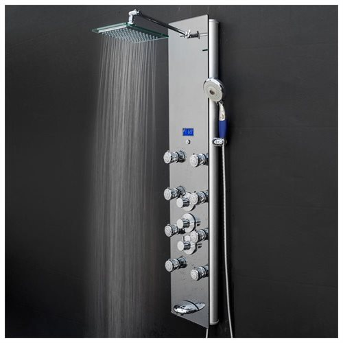 "AKDY 52"" Tempered Glass Wall Mount Multi-Function Shower Panel Tower System 1"