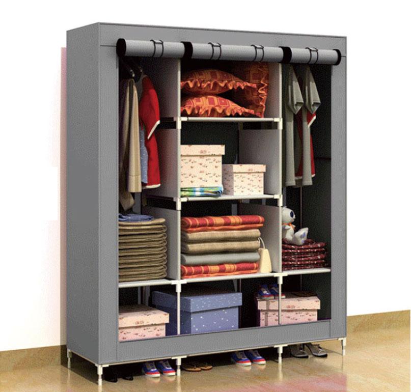 超大三排加寬加高8格簡易防塵衣櫃 收納 鋼管 衣櫥 現貨(草綠 ) 免運*出清大特價*可貨到付款(請見商品描述)