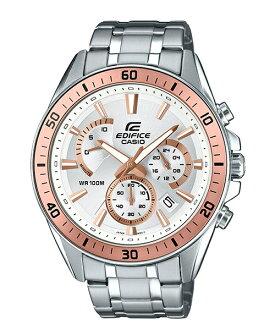CASIO EDIFICE EFR-552D-7A 賽車儀表概念三眼腕錶/白面47mm