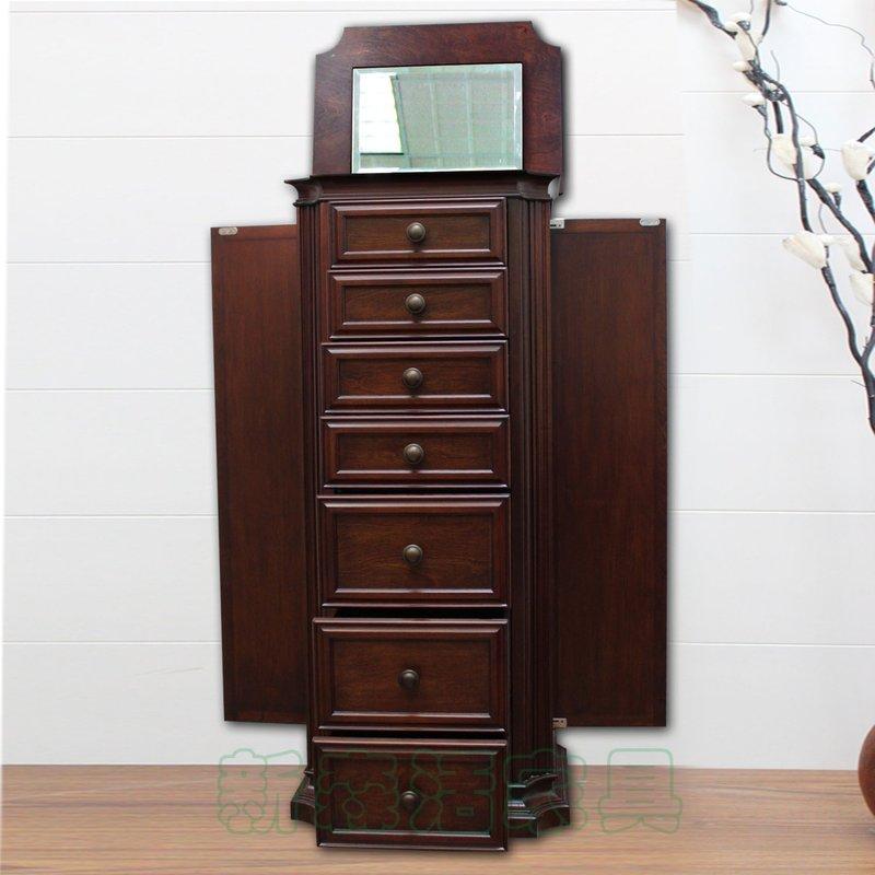 @@新生活傢俱@@外銷美國新古典橡木實木首飾櫃 珠寶櫃 歐式 鏡櫃 (毛絨布墊)