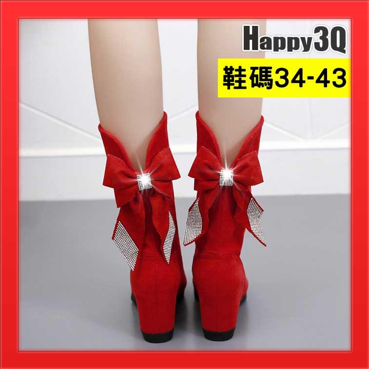 大尺碼42短靴後蝴蝶結貼鑽水鑽坡跟鞋41大尺碼靴高跟靴內增高靴秋冬靴-紅/黑/棕33-43【AAA2782】