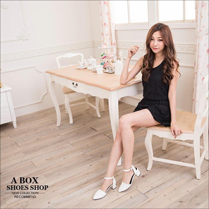 ★399免運★格子舖*【KDWA901】MIT台灣製 經典時尚質感素面皮革 尖頭粗高跟鞋 繞踝瑪莉珍鞋 4色 1
