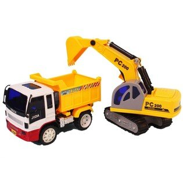 韓版摩輪砂石車+怪手JD-101(盒裝.中型)一台入{促350}工程車玩具~生