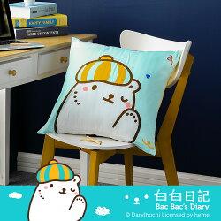 抱枕 方型抱枕(雙正面) 白白日記-畫家藍/美國棉授權品牌[鴻宇]台灣製2082