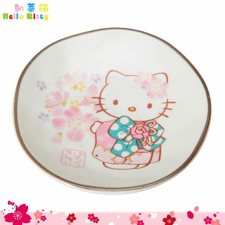 日本製 三麗鷗 凱蒂貓 Hello Kitty 櫻花美濃燒小盤 盤子 和服 小碟子 日本進口正版 984031