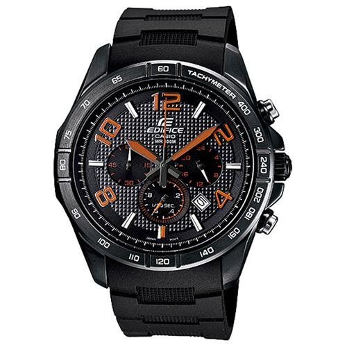 Casio EFR516PB-1A4 Men's Edifice Black Dial Tachymeter Black Ion Plated Chronograph Watch