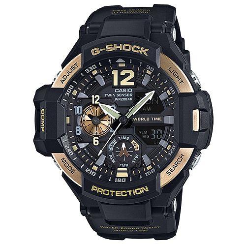 CASIO G-SHOCK GA-1100-9G黑金飛行雙顯流行腕錶/黑面52mm
