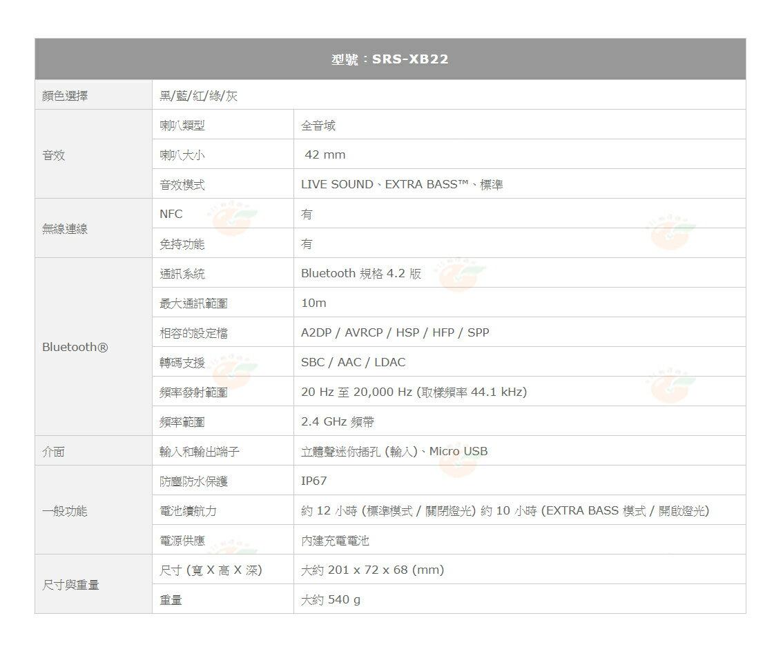 新春活動 SONY SRS-XB22 藍芽喇叭 台灣索尼公司貨 12個月保固 XB22 防水 重低音 9