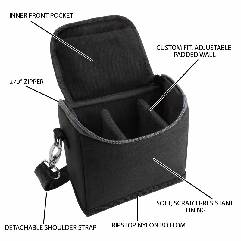USA GEAR Universal Camera Pouch with Scratch-Proof Interior , Removable Compartments & Ripstop Nylon 2