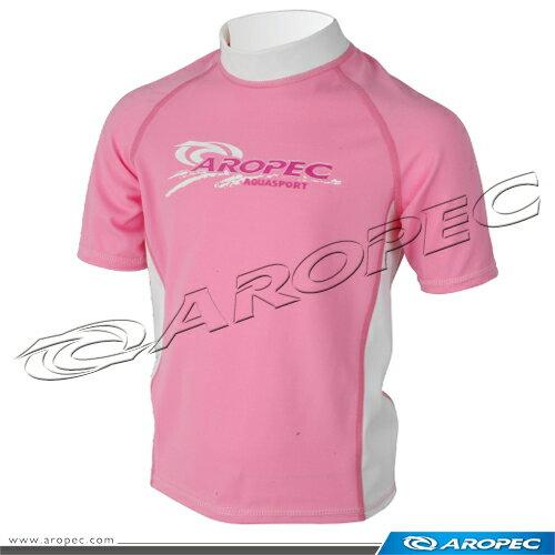 【【蘋果戶外】】AROPECSS-3K35C-Lycra(粉紅白)兒童短袖萊克衣百分百台灣製品質保證