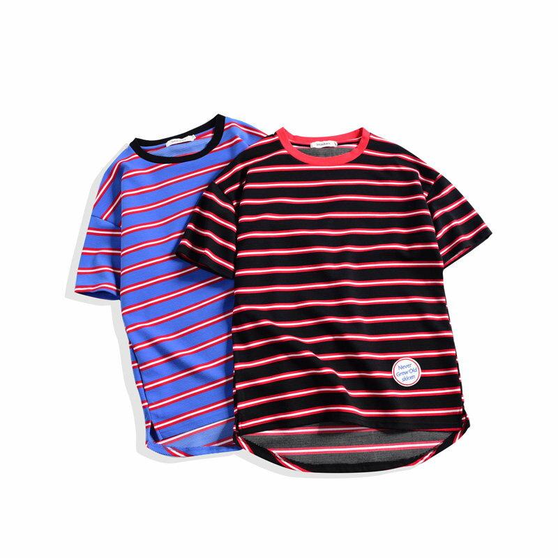 FINDSENSE品牌 韓版潮男 後背個性裝飾 條紋 海魂衫 夏裝短T恤