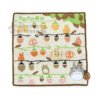 〔小禮堂〕宮崎駿 Totoro 龍貓 小方巾《白.栗子滿版.25x25cm》純棉舒適