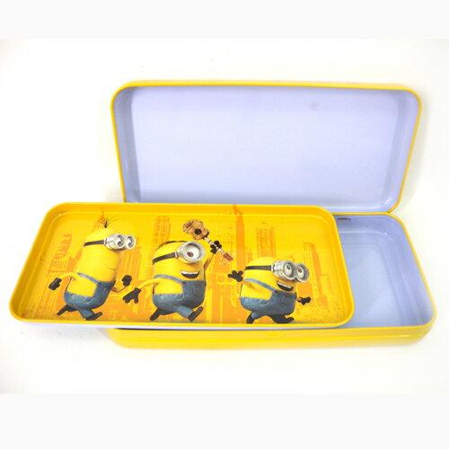 【真愛日本】15092200032 超大雙層鐵筆盒-小小兵黃 小小兵 神偷奶爸 凱文 筆袋 文具 鐵鉛筆盒