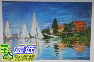 [COSCO代購如果售完謹致歉意]W120492莫內亞爾嘉杜的帆影松木框油畫40x60CM