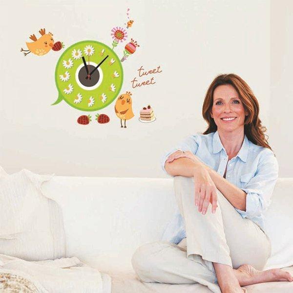 BO雜貨【YV0013】鳥語花香 立體時鐘 客廳牆壁掛鐘 時鐘壁貼