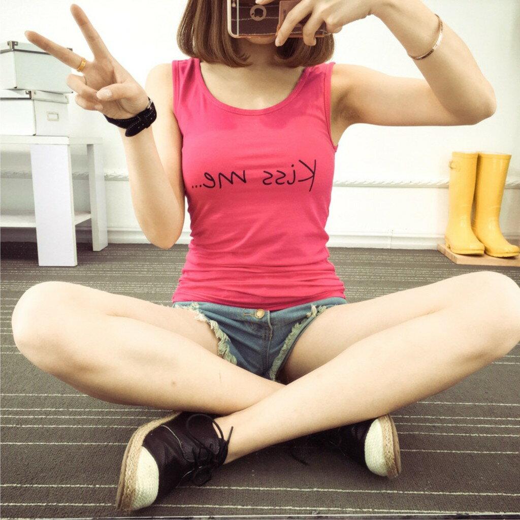 簡約素色韓版字母背心 夏天單穿內搭必備款 U領小背心 無袖時尚外穿 修身顯瘦 純棉多色可選 經典好穿 女孩款