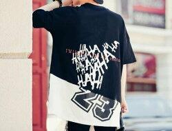 FINDSENSE MD 韓國 潮 男 嘻哈 街頭時尚 後背撞色數字字母印花 另類 夜店DJ發型師 短袖T恤 特色短T