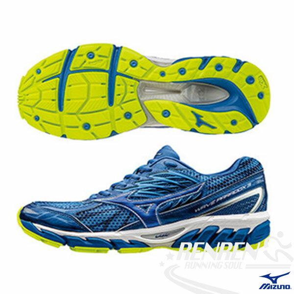 MIZUNO 美津濃 WAVE PARADOX 3 2E 男慢跑鞋 (藍*藍) 扁平足專用鞋款