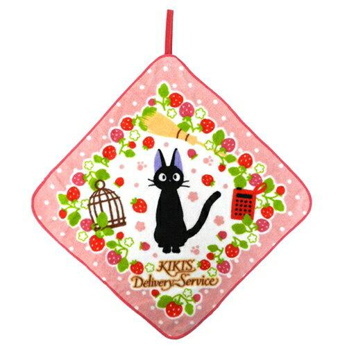 【真愛日本】18030800014 純綿擦手巾-jiji草莓粉 宮崎駿 魔女宅急便 奇奇貓 小毛巾 個人清潔用品 擦手巾