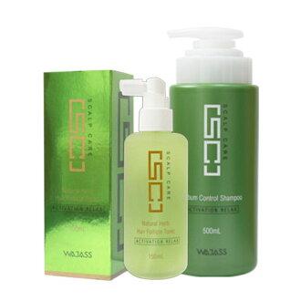 WAJASS威傑士 SC8頭皮養護液(頭皮水)150ml+SC2控油洗髮精500ml