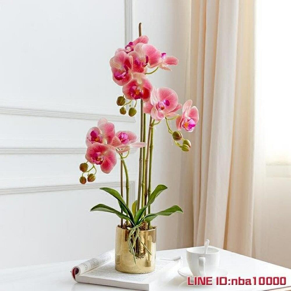 手感保濕蝴蝶蘭仿真花套裝花瓶盆栽假花裝飾花客廳擺設花藝3杈花 JD CY潮流站 1
