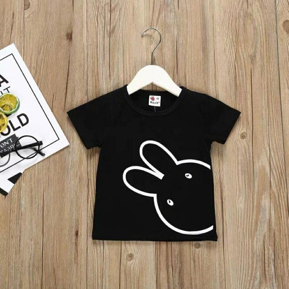 兒童短袖 兒童小兔短袖T恤2020夏裝新款女童童裝兒童短袖夏裝女圓領上衣潮【全館82折】