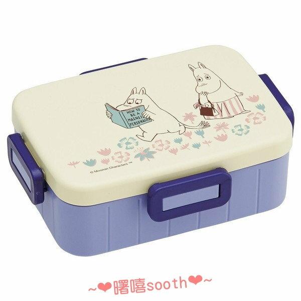 【曙嘻sooth-日本直送】嚕嚕米Moomins[日本製]長方型有間隔便當盒-白紫色650ml