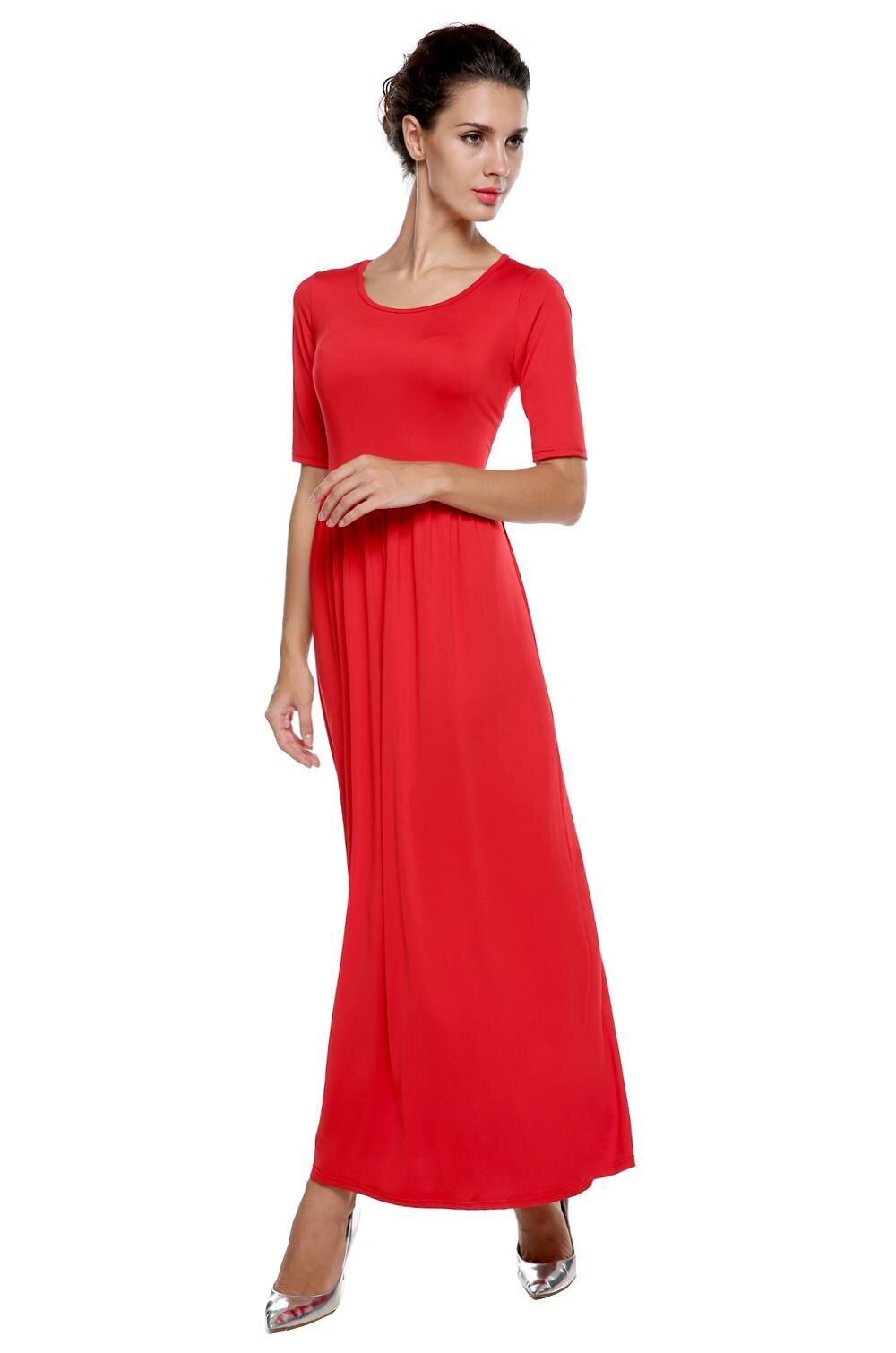Women Medium Sleeve Solid Party Maxi Long Full Dress 1