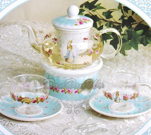 彼得兔陶瓷玻璃花杯子茶壺杯盤5件組209662預購