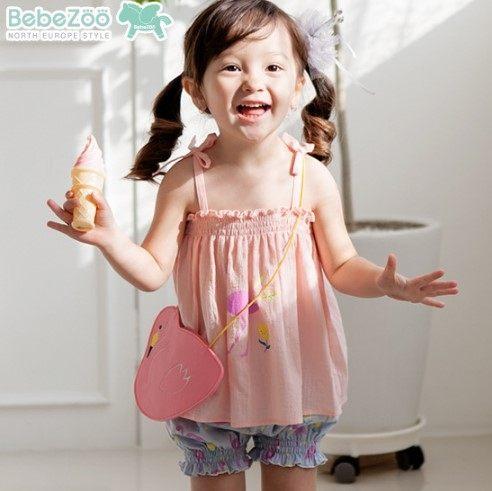 EMMA商城~夏季韓國童裝套裝可愛動物純棉舒適小鳥清涼兒童肩帶洋裝背心上衣+褲子二件套