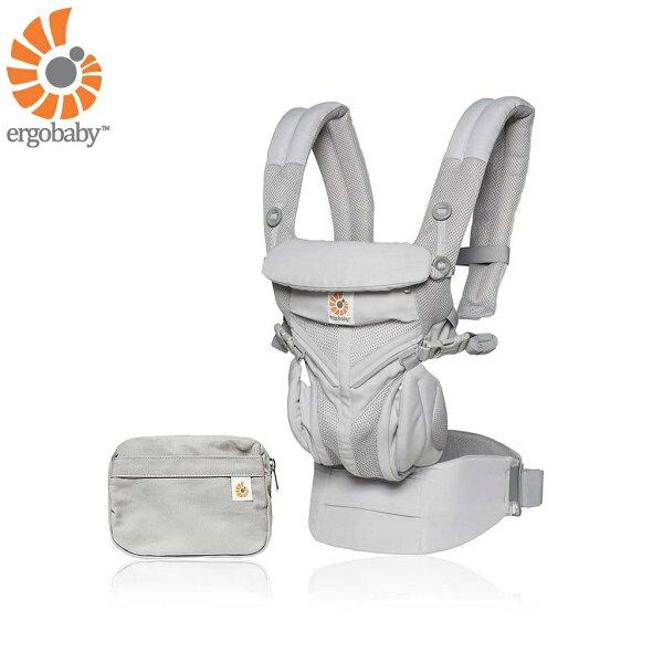 【送日本製拍嗝巾x1】美國【ErgoBaby】OmniCoolAirMesh全階段型四式360嬰兒揹帶透氣款(灰色)