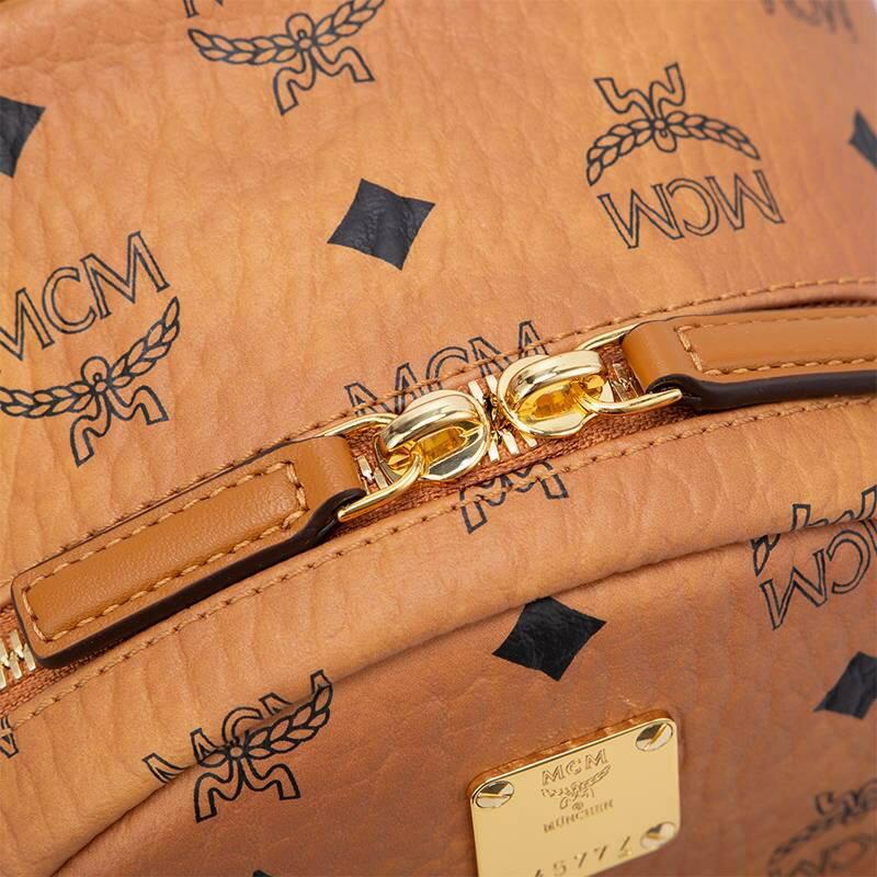 限時 滿3千賺10%點數↘   【Chiu189英歐代購】MCM logo Backpack 兔子圖騰 小款 後背包 焦糖