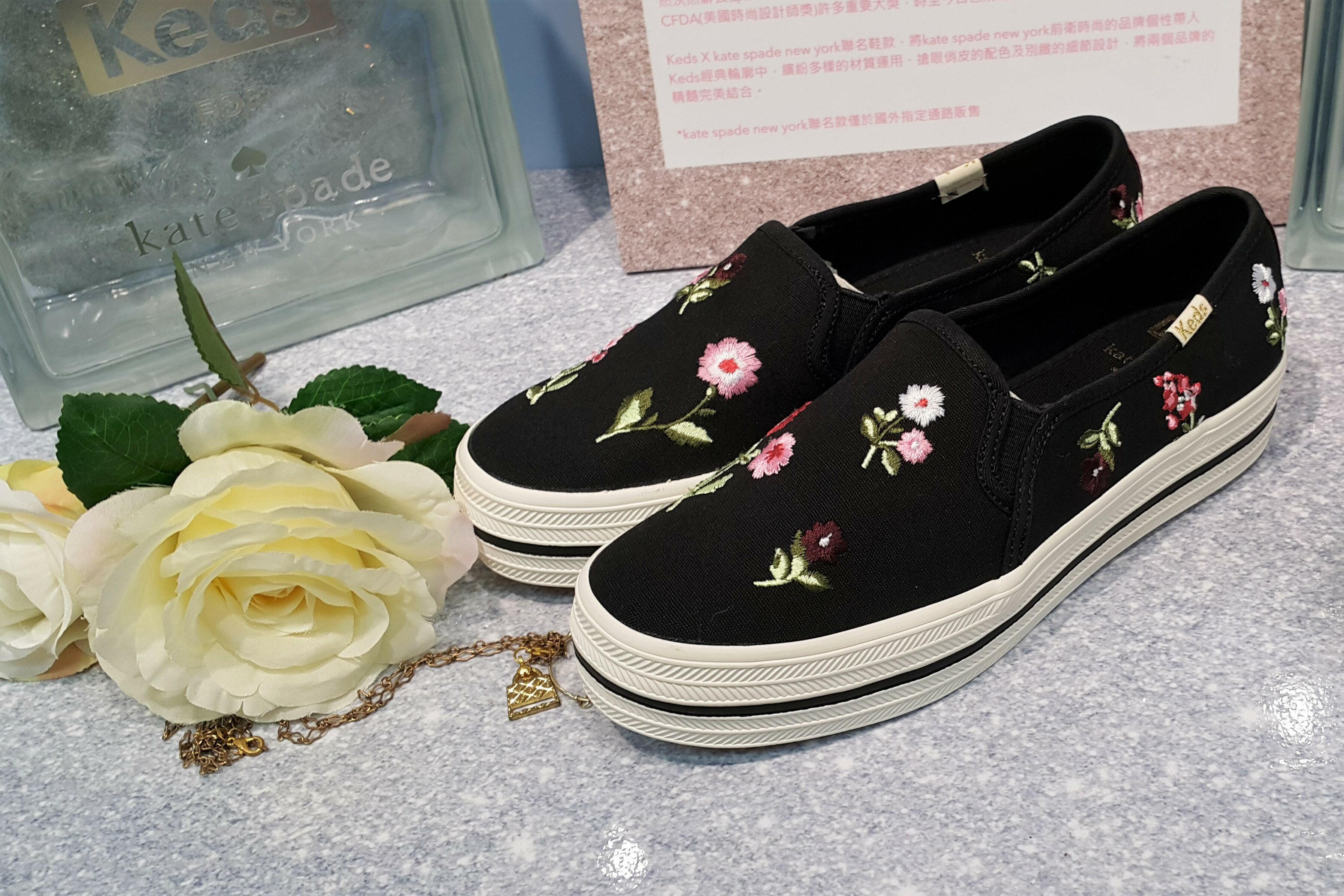 Keds x kate spade NEW YORK 聯名款 懶人鞋 厚底 3公分增高 黑色 彩色 花朵 刺繡 繡花 波希米亞風 限時贈送Keds購物袋 送完為止