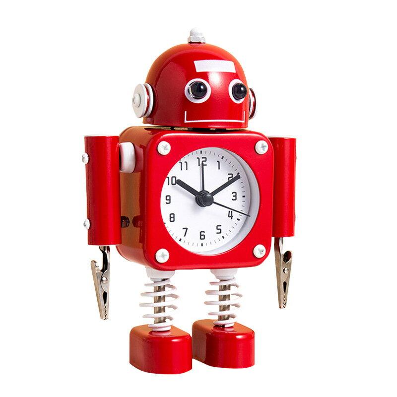 創意學生鬧鐘 趣味金屬兒童卡通時鐘定制機器人臥室小鬧鐘