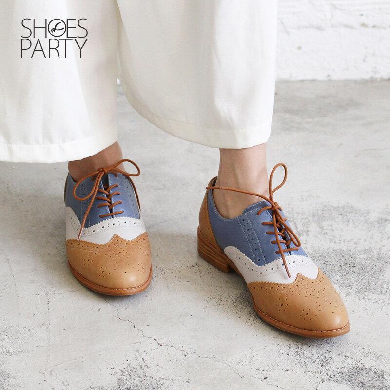 【C2-18121L】外尖內圓真皮綁帶牛津鞋_Shoes Party 2
