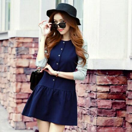 鈕扣拼接連身裙(深藍色S~XL)