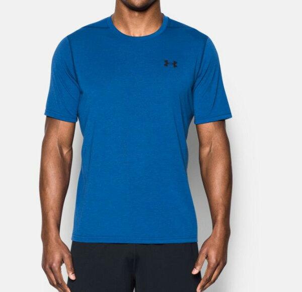 《UA出清69折》Shoestw【1289586-789】UNDERARMOURUA服飾短袖運動上衣吸濕排汗藍水洗紋男生