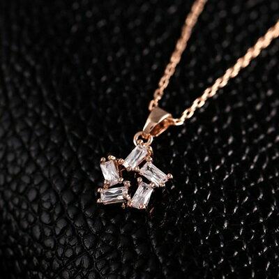 ~玫瑰金項鍊 水晶純銀吊墜~ 小星星簡約情人節生日 女飾品73dw125~ ~~米蘭 ~