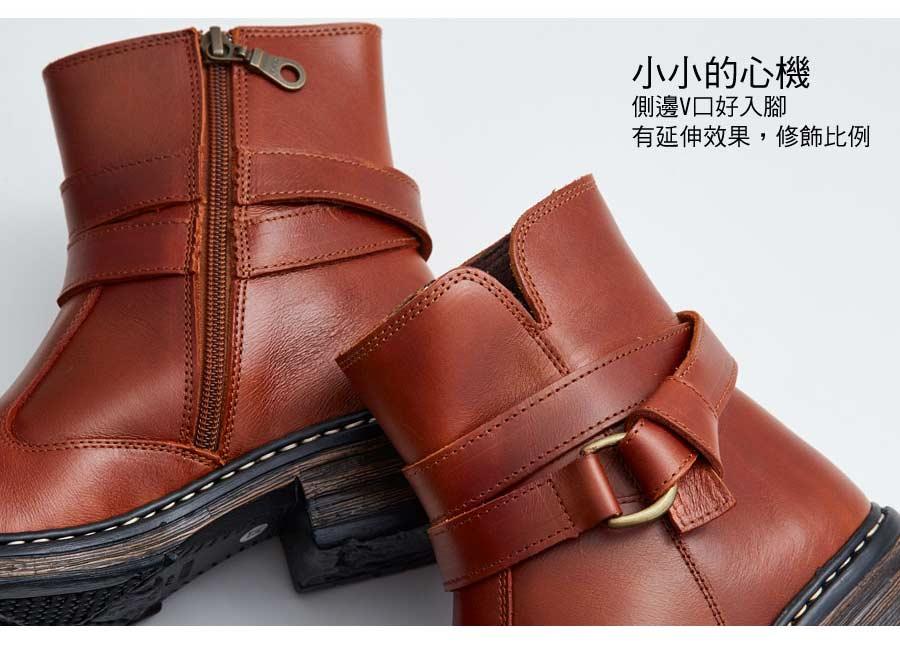 雙釦環拉鍊氣墊真皮短靴。AppleNana蘋果奈奈【QT17112680】 6