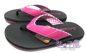 【巷子屋】Limitless利米堤司 女款格紋舒適人字拖鞋/夾腳拖鞋 [1432] 桃 MIT台灣製造 超值價$98