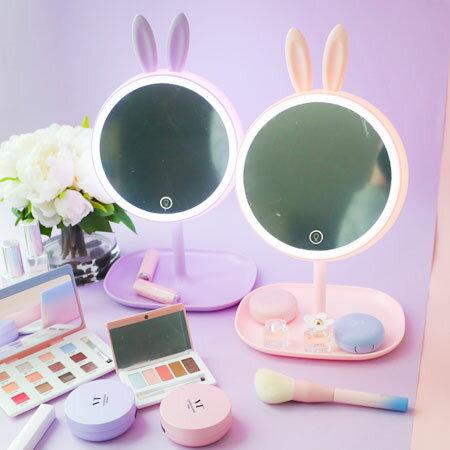 兔子補光化妝鏡 化妝 檯燈 收納盒 LED 梳妝鏡 補光燈 化妝燈 化妝鏡 桌上鏡 交換 禮物 聖誕【B063053】