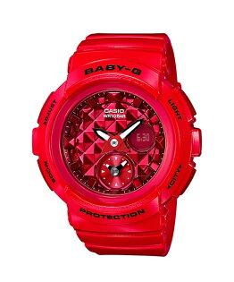 CASIOBABY-GBGA-195M-4A時尚鉚釘概念雙顯流行腕錶紅