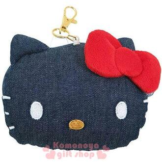 〔小禮堂〕Hello Kitty 造型牛仔布票夾零錢包《深藍.大臉型》伸縮掛勾