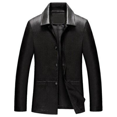 ★皮衣夾克外套-翻領純色商務短款男夾克2色73pn24【獨家進口】【米蘭精品】 1
