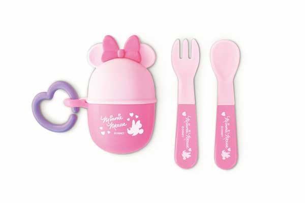 ★衛立兒生活館★日本 迪士尼 Disney 米妮攜帶餐具叉子+湯匙組 附收納盒~粉