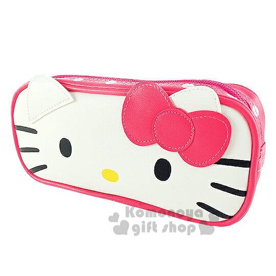 〔小禮堂〕Hello Kitty 皮革拉鍊筆袋《粉.大臉.點點》增添學習樂趣