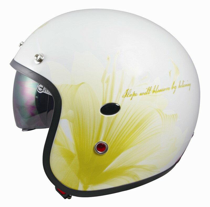 《GP5》308 百合 內藏鏡 復古帽 半罩安全帽 3/4 半罩式【機車工程師】