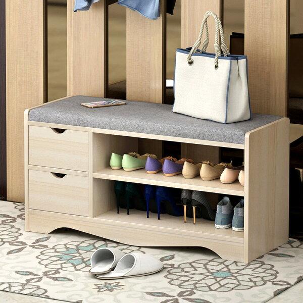 !新生活家具!《蜜莉雅》DIY白楓色收納櫃多功能櫃鞋櫃玄關櫃穿鞋櫃二抽亞麻布PU皮美式簡約