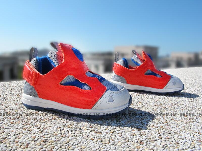 《下殺6折》[14cm] Shoestw【V62994】Reebok Pump Fury 小童鞋 灰藍橘 襪套 黏帶 小童
